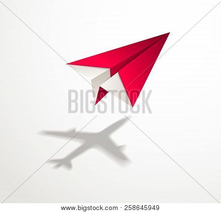 Paper Plane Casting Shadow Of Jet Airliner, Origami Folded Toy Plane 3d Realistic Vector Illustratio