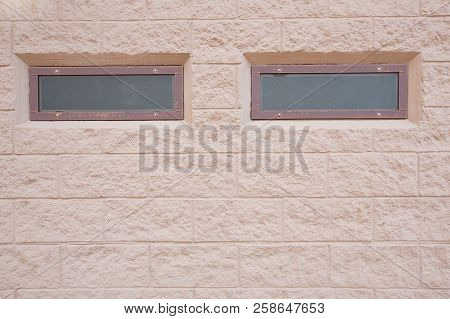Small Brown Glass Window On Squre Wall Tile Building Structures