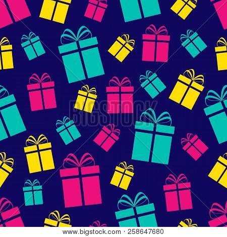 Colorful Gift Boxes Seamless Pattern. Holidays Background. Colored Flat Present Icons. Repeat Textur