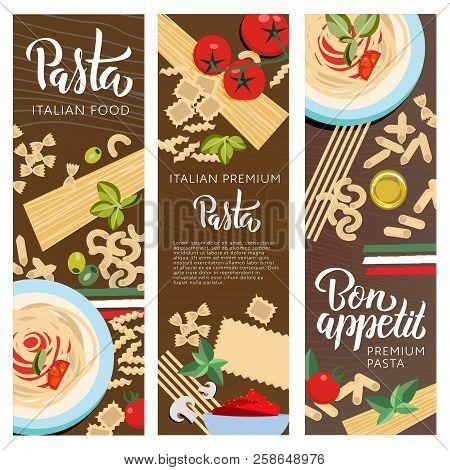 Set Ot 3 Italian Food Banners With Pasta Hand Lettering. Farfalle, Ravioli, Penne, Macaroni, Machero