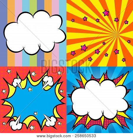 Background, Pattern, Set, Set Of Backgrounds, Template, Pop Art, Comics