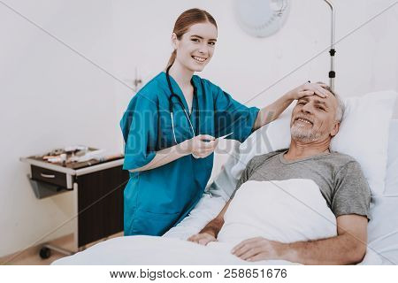 Medic With Patient In Hospital. Happy Nurse And Patient. Diagnosis Patient In Clinic. Rehab Patient