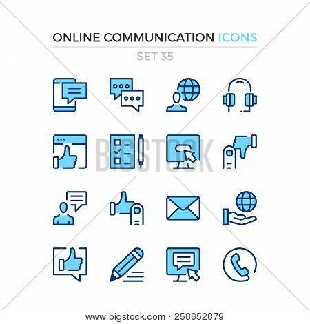 Online Communication Icons. Vector Line Icons Set. Premium Quality. Simple Thin Line Design. Modern