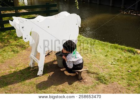 Enkhuizen, Netherlands - August 19, 2015 - The Unidentified Boy In The Traditional National Clothes