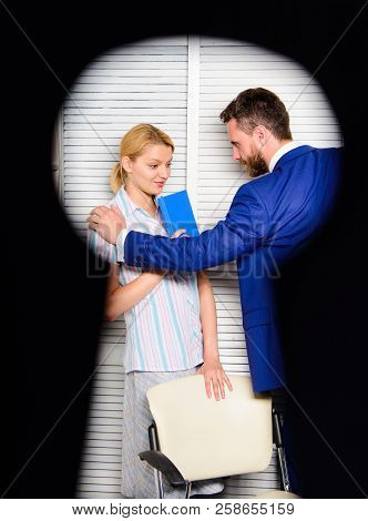 View Through Keyhole. Woman Suffer From Violence In Office. Worker Lady Suspected In Rights Violatio