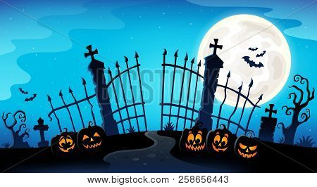 Cemetery Gate Silhouette Theme 8 - Eps10 Vector Picture Illustration.