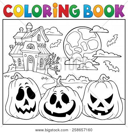 Coloring Book With Halloween Pumpkins 2 - Eps10 Vector Picture Illustration.