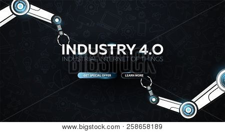 Industry 4.0 Banner With Robotic Arm. Smart Industrial Revolution, Automation, Robot Assistants. Vec