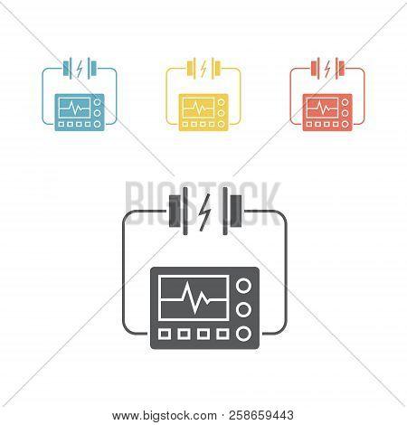 Heart Defibrillator Icon. Vector Sign For Web Graphic.