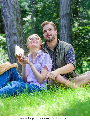 Couple Soulmates At Romantic Date. Romantic Couple Students Enjoy Leisure Looking Upwards Observing