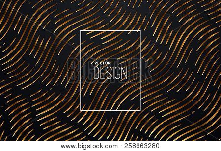 Abstract Engraving Golden Metallic Texture. Wavy Etching Background. Vector Illustration. Invitation