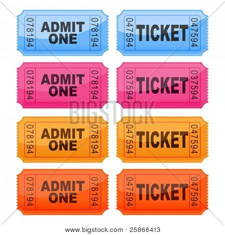 vector illustration of coloured tickets