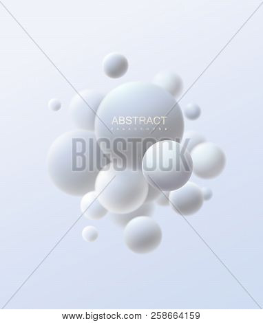 3d Flowing Spheres. Vector Abstract Illustration Of White Bubbles Or Particles Cluster. Modern Trend