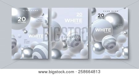 Electronic Music Festival Advertising Poster. Modern Club White Party Invitation. Vector Illustratio
