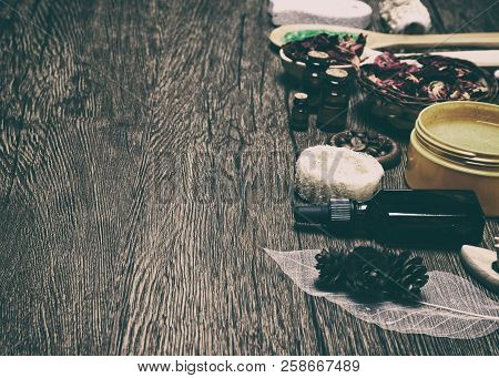 Spa And Cellulite Treatment Products And Accessories On Wooden Background. Natural Skincare Cosmetic
