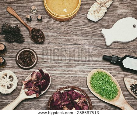 Spa And Cellulite Treatment Background. Natural Skincare Cosmetics On Wooden Table As Circular Frame