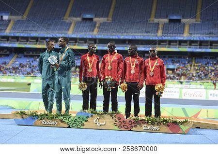 Rio, Brazil - September 08, 2016: Kimani Samwel Mushai (ken) (gold); Santos Odair (bra) (silver) And