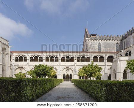 Alcobaca, Portugal - May 20, 2018: Gardens Of The The Mosteiro De Santa Maria