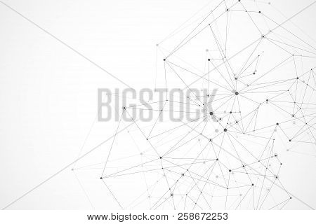 Futuristic Abstract Vector Background Blockchain Technology. Peer To Peer Network Business Concept.