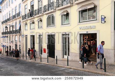 Lisbon, Portugal - June 6, 2018: People Visit Shopping Area In Chiado District, Lisbon. Lisbon Is Th