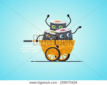 Sushi Delivery. Happy Smiling Cartoon Asian Food Take Away Concept.  Characters Riding In Wooden Asi