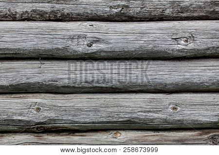 Wooden Texture Of Round Logs Gray Grunge Texture