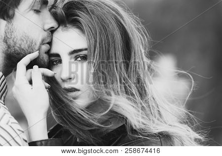 Sexy Man And Girl With Fashion Makeup And Long Hair Touching Each Other With Love And Tenderness. Yo