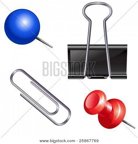 Push pin set. Thumbtack, fastener, clip.