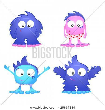 vector illustration of cute monsters