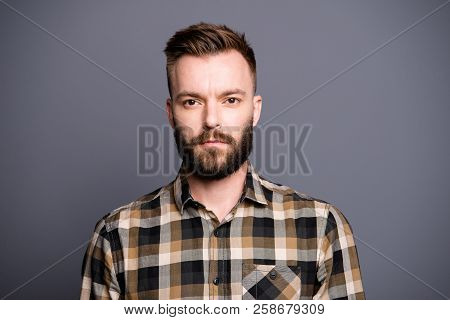 Portrait Of Attractive, Good-looking Handsome Man In Brown Checkered Shirt Looking At Camera Isolate