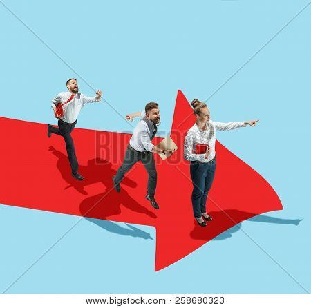 Businessman With Briefcase In Hand, Rising Up The Career Ladder. Flat Isometric View Of Man Going Fo