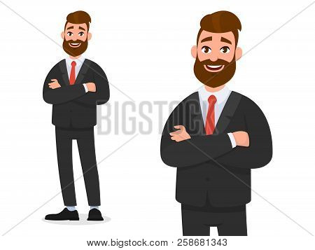 Smiling Confident Businessman In Black Formal Wear With Arms Crossed Isolated In White Background Po