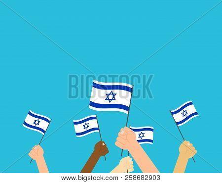 Vector Illustration Hands Holding Israeli Flags On Blue Background