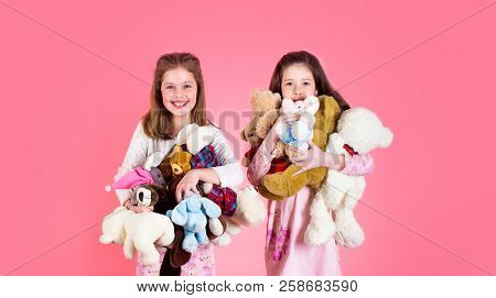 Little Girl With Toy. Girls Holds Heap Of Teddy Bears. Girl Hugging Teddybears, Childhood. Two Beaut