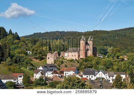 German landscape of a castle Bertradaburg in the Eifel at Gerolstein. poster