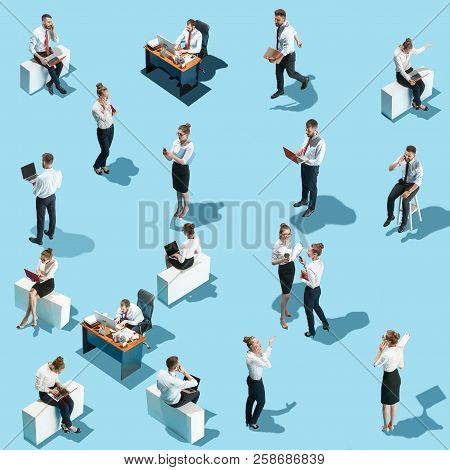 Conceptual Image Of Business Processes With Businessman And Businesswoman. Flat Isometric View. Busi