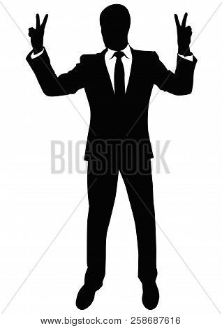 Silhouette Of A Man In A Business Suit Showing A Gesture Of Victory - Vector