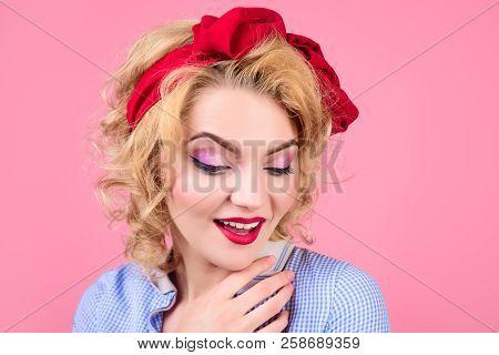 Closeup Portrait Woman With Bright Pin Up Make Up. Pin-up Clothes. Portrait Sensual Blonde Pin Up Gi