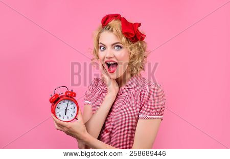 Time. Smiling Woman With Alarm Clock. Surprised Woman With Alarm Clock. Housewife With Alarm-clock.