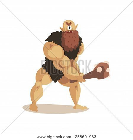 Angry Cyclops Caveman With A Cudgel, Ancient Mythical Creature Cartoon Vector Illustration On A Whit