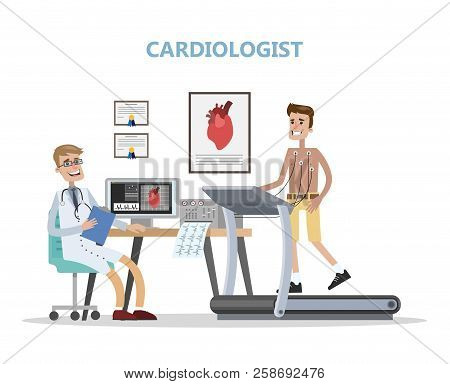 Cardiologist Checking Mans Heart. Doctor Examining Patient.
