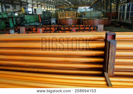 Bullet Of Copper Tube Are Placed In Yard Waiting To Process To Rolling Milling