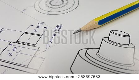 Engineer Tools On A Technical Drawing,mechanical Drawing,draftsman With Engineering Plans And Mechan
