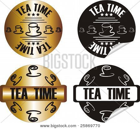 Vector Tea Time Stamp Set