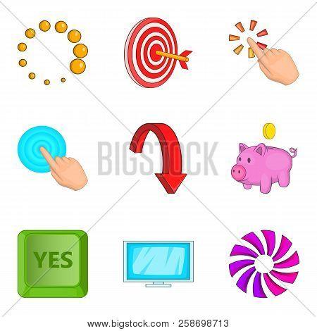 Work Elaborate Icons Set. Cartoon Set Of 9 Work Elaborate Icons For Web Isolated On White Background