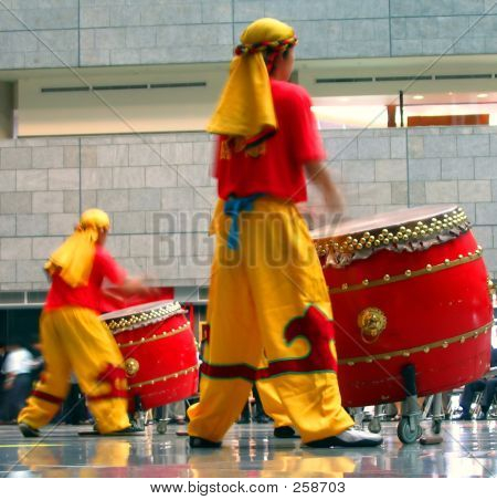 Chinese Drummers At Work