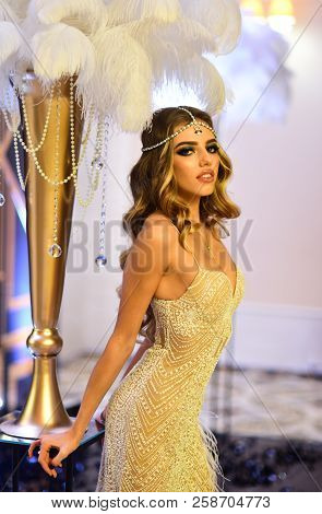 Adorable Girl With Glamorous Beauty. Adorable Woman In Stylish Dress. Young And Beautiful.