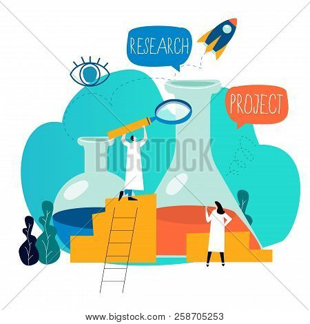 Research, Science Lab, Scientific Experiment, Testing, Laboratory Research Flat Vector Illustration
