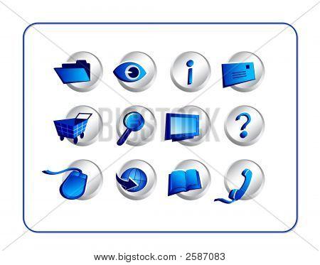 Icon Set - Silver-Blue