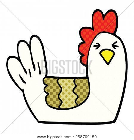 comic book style cartoon roosting hen